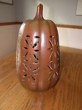 Pottery Barn Tall Terra Cotta Pierced Pumpkin-Halloween/Thanksgiving/Fall Decor