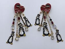 Rare Vintage Lunch at the Ritz Clip Earrings ~Valentine Penguins Theme~