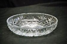 Old Vintage Clear Lead Crystal Tidbit Candy Dish w Teardrop & Star Designs MCM