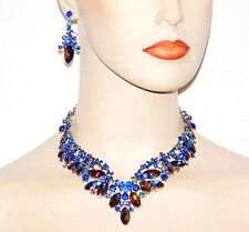 Sapphire Royal Blue & AB Blue Rhinestone Crystal Necklace & Drop Earrings Set