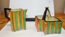 Art Deco Ceramic Creamer & Sugar Bowl, handpainted, Japan