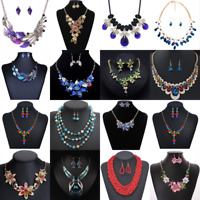 Fashion Women Crystal Chunky Pendant Statement Choker Bib Necklace Jewelry
