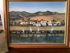 Five Oil On Board Vintage Paintings,