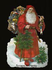 German Embossed Scrap Die Cut - Large Christmas Santa w/Tree & Toys    BK5020