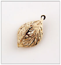 12 Hollow Out  Leaves Gold Plated Crystal Charms Pendant Jewelry Making EIF0788