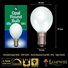 X5 Bell 25w SBC B15 Golf Small Bayonet Ball Bulb 25 Watts Opal