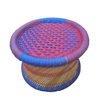 Handmade Eco furniture Footstool Made From Bamboo Stick with Colourful Rope BLUE