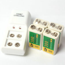 4 Pcs 300mAh 9V BTY NI-MH Rechargeable Battery + 2 Slot 9V Charger