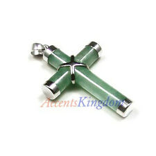 Sterling Silver Ss925 Green Jade Cross Pendant