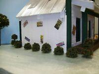 SHRUBS & TOPIARIES Fairy Gardens, Model railroads, O Gauge Train Layout / 8 pc.