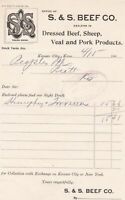 U.S. S. & S. BEEF CO. Kans. Logo 1901 Dressed Beef, Etc Paid  Invoice Ref 45251