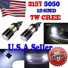2 x 3157 White 6000K Back Up Reverse Projector Cree+12-SMD Chip LED Lights Bulbs