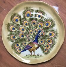 "Tabletops Gallery Peacock 18"" Shallow Serving Platter Huge Centerpiece Handmade"