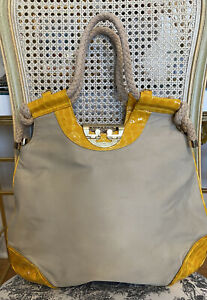 Tory Burch Women's Shoulder Bag Beige Nylon W/ Yellow Leather Trim Logo Rare!