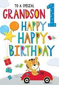 Grandson Age 1 -  Luxury 1st Birthday Card - Toy Car