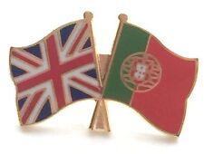 United Kingdom & Portugal Friendship Flags Gold Plated Enamel Lapel Pin Badge