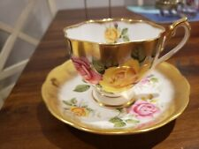 STUNNING QUEEN ANNE CUP AND SAUCER  CABBAGE ROSES, HEAVY GOLD