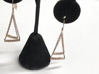 925 Sterling Silver Gold Tone Chain Drop Dangling Earrings With CZ Stones