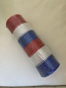 "Patriotic 9.5"" Wide Poly Deco Mesh: Metallic Red, White & Blue Stripes X 19ft"