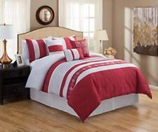 Dcp 7 Piece Luxury Embroidery Bed in Bag Microfiber Comforter Set (Red, Queen)
