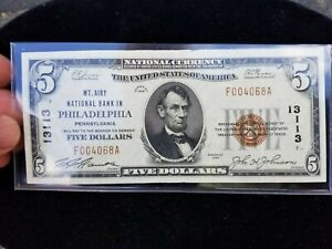 1929 $5 Mt. Airy N.B. Philadelphia PA Small Size Type 1 Bank Note 13133