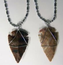 """2 STAINLESS STEEL 24"""" BALL CHAIN NECKLACE W STONE WIRE WRAP ARROWHEAD PENDANT"""