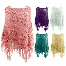 Ladies Womens Warm Winter Shawl Poncho Throw Cape Chunky Knitted Cardigan Jumper