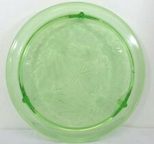"Vintage Green Depression Glass 15"" Footed Cake Plate Daisy Etch Sunflower Flower"