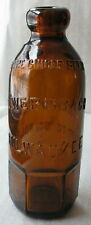 ANTIQUE HUTCHINSON SODA BOTTLE AMBER L WERRBACH MILWAUKEE PURE GINGER BEER WI