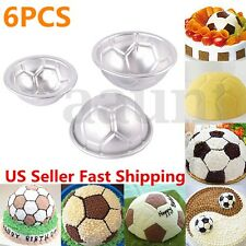 6pcs Set Aluminum Metal Sphere Ball Football 3 Size DIY Cake Pan Bakeware Mold