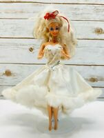"MATTEL BARBIE Doll White Gown 12"" Tall Blonde Hair Blue Eyes Used Free Ship"