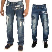 Mens New ETO Straight Leg Blue Jeans Latest Funky Design Denim Pants 28 to 42
