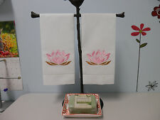 """Embroidered guest towels """"Lotus Flower"""" vintage linen Set Of Two"""