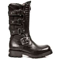 New Rock 7604 S1 Men's Matellic Black Gothic Biker Western Metal Classic Boots
