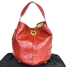 Authentic YVES SAINT LAURENT Logo Hand Bag Patent Leather Red Gold Italy 09MB600