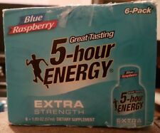 5 Hour Energy Shot Blue Raspberry Extra Strength 5 Pack Box 1.93 oz Bottles