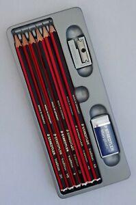 Staedtler Tradition Pencils 6B, 4B, 2B, B, HB and 2H + FREE Sharpener & Eraser