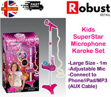 Rr Kids Karaoke Machine Microphone Set Adjustable Stand Music Play Set Light Up