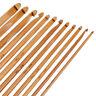 """12pcs Bamboo Handle Crochet Hook Knit Weave Yarn Craft Knitting Needle Set 6"""""""