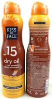 Kiss My Face Dry Oil 2 pack SPF15 Air Spray Sunscreen vegan cruelty free Ex 3/20