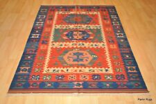 SOUTHWESTERN Wool kilim area rug 5' X 7'  handmade red and blue CAUCASIAN STYLE