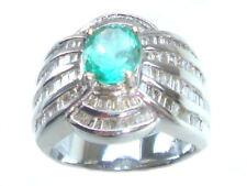 3.20ct Emerald & Diamond Ring in 18K White Gold