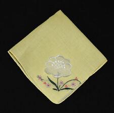 vintage handkerchief Embroidered applied bloom hanky Estate embroider Unused