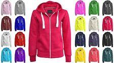Womens Ladies Plain Hoodie Fleece Sweatshirt Hooded Coat Jumper Zip Jacket 8-30