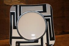 """VERSACE """"Dedalo Platinum"""" 2X square Salad plate 8,5"""" by Rosenthal Germany  NEW!"""