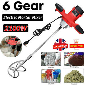 Electric Plaster Paddle Mixer Drill Mortar Paint Cement Stirrer Whisk 6 Speed UK