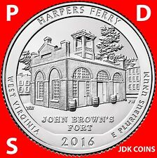 2016 PDS SET HARPERS FERRY NATIONAL PARK (WV) THREE QUARTERS SET UNCIRCULATED