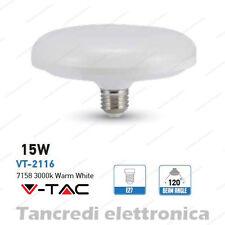 Lampadina led V-TAC 15W = 90W E27 bianco caldo 3000K VT-2116 ufo disco F150