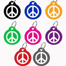 Round Shape Pet ID Tags, Dog Tags, 8 Colors Designers Bijoux (Peace)