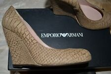 Emporio Armani wedge tan light brown python embossed leather shoes pumps 37.5 7